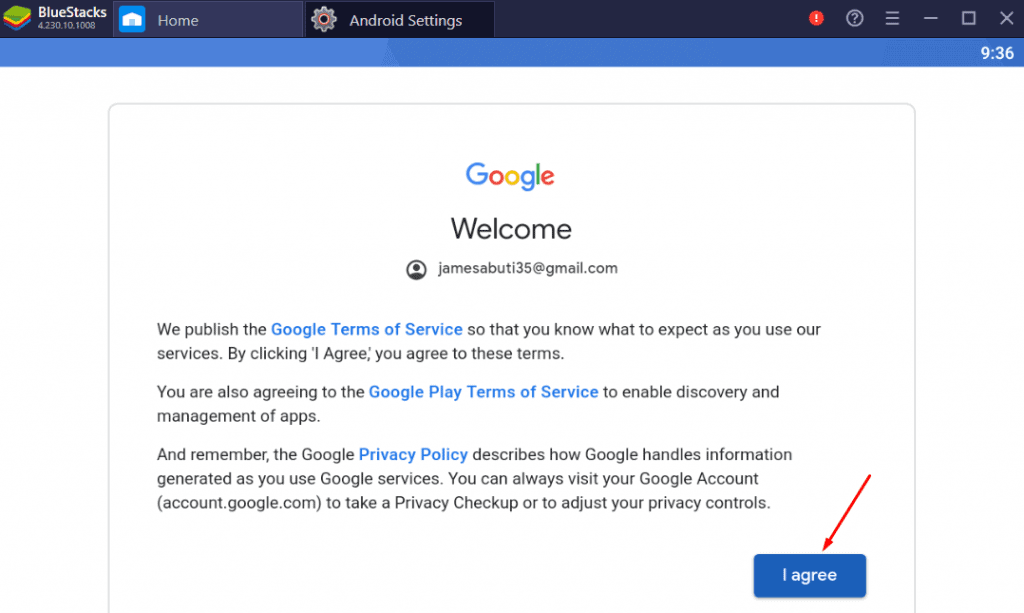 download Vmobile for PC - agreeing to google terms of service