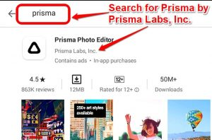 Searching for Prisma APP