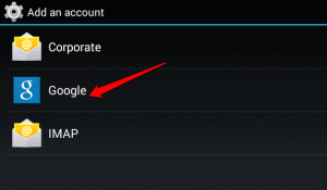 Selecting account type